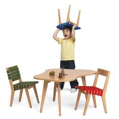 RISOM Chairs and Table by Jens Risom for the Knoll KIDS Collection.