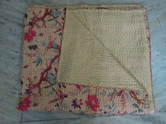 Indian Kantha Quilt Beige Kantha Quilt by jaipurihandicraft