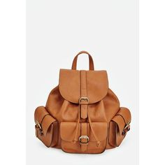 Justfab Shoulder Levy Backpack ($40) ❤ liked on Polyvore featuring bags, backpacks, brown, draw string backpack, white backpack, white drawstring bag, justfab and pocket backpack