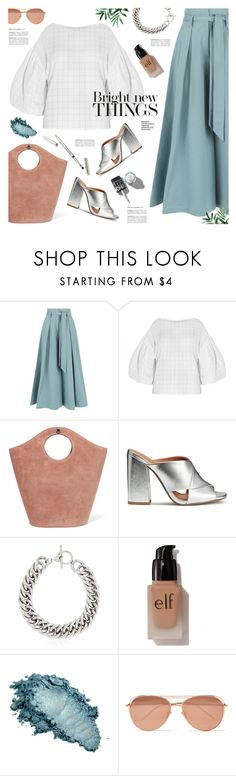 """balloon sleeve blouse"" by jesuisunlapin ❤ liked on Polyvore featuring Temperley London, Elizabeth and James, H&M, Yves Saint Laurent, e.l.f., Linda Farrow, metallic, mules, JeSuisunLapin and totebags"