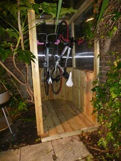 The joy of a new bike shed Outdoor Bike Storage, Bike Shed, I Coming Home, Shed Plans, Things To Come, Backyard, Deco, Wordpress, Bicycle