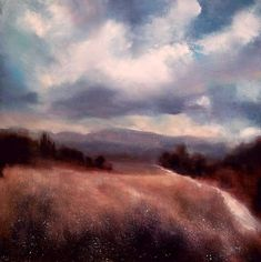 Approaching Rain, Provence, John O'Grady - An atmospheric landscape on a stormy afternoon with a path running along a field of grasses bleached by the summer sun  #art #provence #storm #clouds #countryside