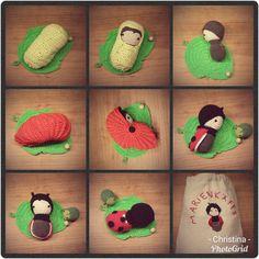 Ladybug life cycle playset made by Christina Sch. / crochet pattern by lalylala