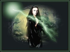 Witch & Her Black Cat animated lightning witch gif halloween black cat