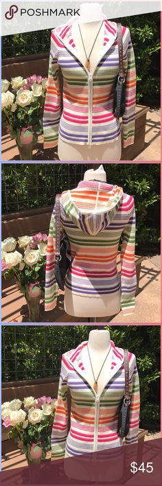 Jones NY Brand new rainbow zip hoodie!, even though it's summer I'm always looking to keep warm at night yet still be chic!. This will do it, it's amazing! 100% cotton Jones New York Sweaters