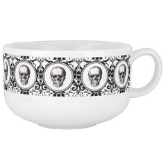 #HALLOWEEN Black Gothic Damask Pattern Skull Soup Mug - #Halloween #happyhalloween #festival #party #holiday