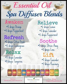 Essential Oil Diffuser Blends. Create a spa-like atmosphere in your home with these clean, fresh scents. 1drop2wellness.com (scheduled via http://www.tailwindapp.com?utm_source=pinterest&utm_medium=twpin&utm_content=post28138220&utm_campaign=scheduler_attribution)