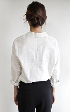 White pin-stripe shirt & black trousers   @styleminimalism