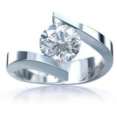 COI White Titanium Solitaire Ring With Platinum Plating - JT1569