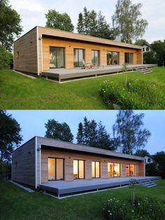 Modern bungalow with wood facade and huge terrace - design flat roof house .Modern bungalow with wood facade and huge terrace - design flat roof house in ecological construction by Baufritz The Roof House Save Continues in Ber. Building A Container Home, Container House Plans, Container House Design, Small House Design, Modern House Design, Modern Wooden House, Sea Container Homes, Modern Barn House, Modern Shed