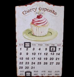 Vintrage Magnetic French Theme Cherry Cupcake Calender