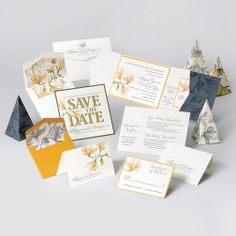 10 Wedding Invitations, Save the dates, thank you cards, favor containers, suite, Envelopments
