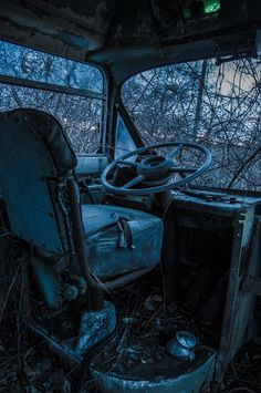 Let Us Go for a Ride - Cockpit of an abandoned city bus. May 1, 2014