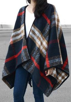 Vintage-Inspired Plaid Cape by: Lookbook Store @Lookbook Store