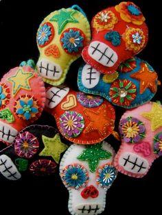 Felt Day of the Dead Sugar Skull Ornaments