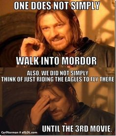 Exactly! Or in the Hobbit where the Eagles just drop them off at the top of the highest peak possible. Thanks for saving us but hey nice job at not helping us get any closer and cutting the movies down!  ~~~LJ :)