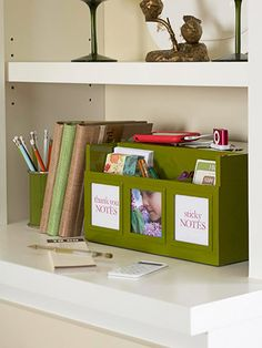 file folders and charging station keeps bookshelf organized and hides cords