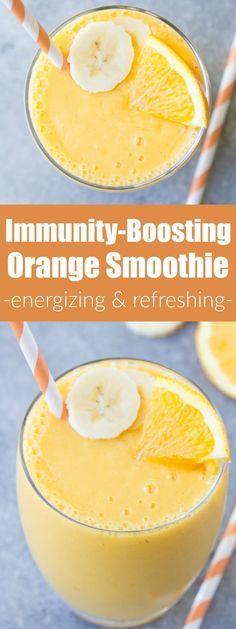 Immunity Boosting Orange Smoothie! This healthy smoothie packs a hefty dose of vitamin C! With orange, mango, banana and vanilla. | www.kristineskitc...