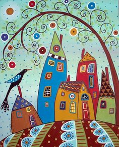 Swirl Tree Bird & Houses by Karla Gerard - zentangle folk art. Art Fantaisiste, Karla Gerard, Art Populaire, House Quilts, Inspiration Art, Bird Tree, Naive Art, Whimsical Art, Doodle Art