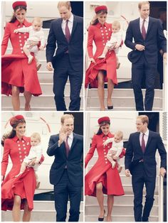 Duke, Duchess, and Prince of Cambridge arrive in Wellington, New Zealand, April 2014 #katemiddleton #princegeorge