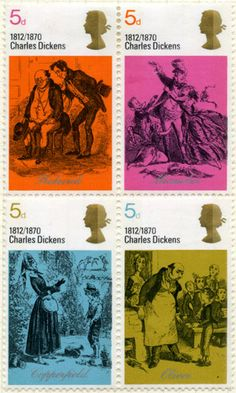 post o dickns christmas stamps for royal mail: Four stamps from the Literary Anniversaries issue, 3 June 1970. 5d – Mr Pickwick and Sam Weller – Pickwick Papers; 5d – Mr and Mrs Micawber – David Copperfield; 5d - David Copperfield and Betsy Trotwood – David Copperfield; 5d - Oliver asking for more – Oliver Twist.