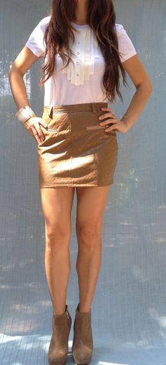 Carmel Leather Skirt
