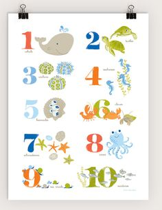 Sea Creature Numbers Poster by SeaUrchinStudio on Etsy, $40.00