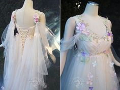 🍃Meadow Mist Bridal Gown🍃 Airy layers of tulle sweep across her breast, along her shoulders and arms. Tiny meadow flowers caught in the mist sparkle with crystals mimicking morning dew drops💦 Pretty Dresses, Beautiful Dresses, Bridal Gowns, Wedding Gowns, Elven Wedding Dress, Fantasias Halloween, Fairy Clothes, Style Simple, Fantasy Gowns