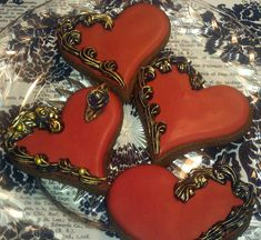 One Dozen Gilded Heart Sugar cookies Valentines Day wedding favor Chocolate