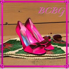 """BCBG What not to love about hot pink & black!? insanely great timing for summer to make the splash into it head on with these delicate beauties!. Just a popping pair to make any outfit spring to life, I adore having fun with shoes as you can see!. Good condition, little heel scuffing as shoe shine material is light..otherwise perfection!. 4"""" heel BCBGeneration Shoes Heels"""