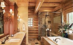 Beautiful rustic, western bathroom with log and Venetian plaster walls. | Stylish Western Home Decorating