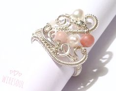 Wire jewerly, wire ring, pearl, rodonit, rose quartz #wirewrappedringspearl