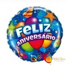 Balão Metalizado - Feliz Aniversário (azul)** www.balaocultura.com.br