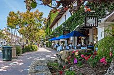 Not a bad place to be on a Monday morning. Santa Barbara, Shops on State Street in the city of Santa Barbara in southern California Santa Monica, Visit Santa Barbara, Downtown Santa Barbara, Santa Barbara Shopping, Santa Barbara Hikes, Santa Barbara California, Santa Barbara County, San Francisco, San Diego