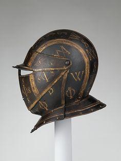Close-helmet                                                                                      Date:                                        ca. 1600–1620                                                          Culture:                                        Italian                                                          Medium:                                        Steel, gold, copper alloy, leather