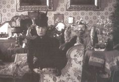 Tsar Nicholas II with his mother Dowager Empress Marie.