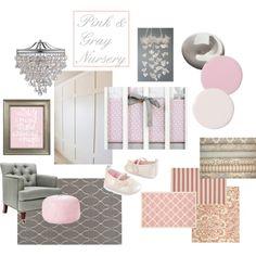 """Pink and Gray Nursery"" moodboard"