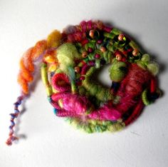 Gypsy Spring Fiber wrapped Brooch by birchbaykay on Etsy, $25.00--check out this woman's awesome fiber jewelry!!