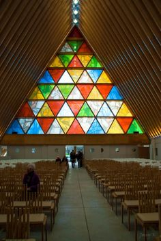 Cardboard Cathedral by Shigeru Ban - triangular glass etched with images from the original cathedral's facade