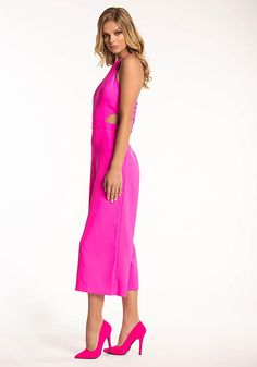 Hot Pink Cut Out Wide Legged Jumpsuit