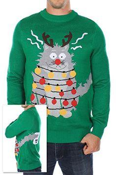 Funny Black Cat Kitten Ugly Christmas Sweater Fairy Lights Sweatshirt