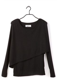 Black Round Neck Long Sleeve Cotton T Shirt