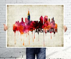 AMSTERDAM  Art print  poster  Skyline  watercolor wall by BOX21, $25.00