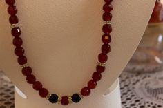 Red Glass Beaded Necklace with Crystal Dividers by AngeleDesignsLA, $28.00
