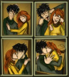 harry and ginny- all cute and bright! I didn't use my usual shadows to the point that you can't see them! Harry Potter Twilight, Harry Potter Girl, Lily Potter, Harry Potter Artwork, Harry Potter Ships, Harry Potter Memes, Ginny Weasley, Very Potter Musical, Harry And Ginny