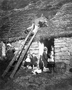 Repairing the thatch on a cottage at Poolewe, 1890