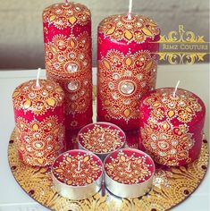Mehndi Night Decor Candle Set.. In love with the combination ❤️❤️ #hennacandles #handmade #handcrafted #candles . . . . . #redandgold #red #etsy #etsyseller #henna #mehndi #design #art #artist #designer #mandala #handmadecanberra #weddingdecor #mehndinight #indianwedding #weddings #decor #homedecor #canberra #handmadeaustralia #canberraweddings
