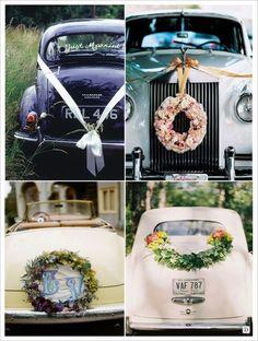 decoration voiture mariage couronne fleurs