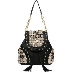 Carved Button & Rhinestone Studded Backpack (62 BRL) ❤ liked on Polyvore featuring bags, backpacks, black, motorcycle bags, rhinestone bag, convertible bag, backpack bags and button bags