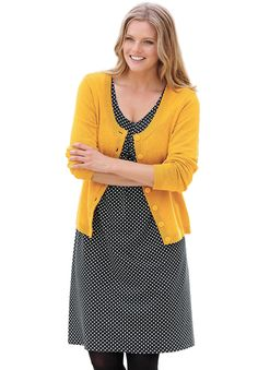 Polka dot A-line knit dress with short sleeves by Ellos® | Plus Size Casual Dresses | Woman Within